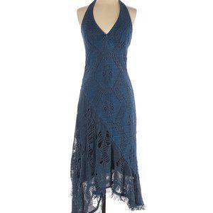 Casadei Vintage High-low Distressed Halter Dress